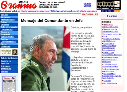 Diario Granma en el que Fidel Castro anuncia su renuncia a la presidencia.