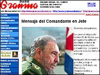 Castro comunica su renuncia en el diario Granma