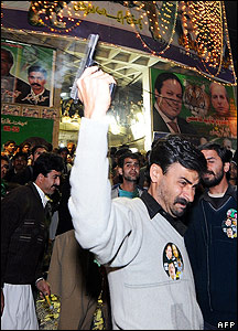 Celebrating PML[N] supporters in Rawalpindi
