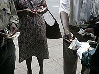 Changing money on the streets of Harare