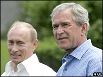 US President George Bush and Russian President Vladimir Putin in the US in 2007