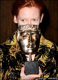 Tilda Swinton with her Bafta