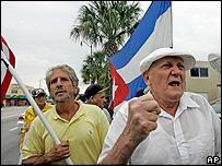 Cuban exiles celebrate in Little Havana, Miami, 19 February 2008
