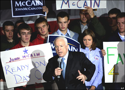 Republican candidate John McCain at a rally in Wisconsin on Tuesday 19 February 2008
