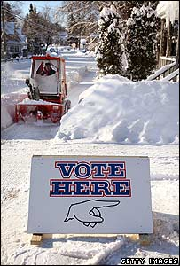 Clearing snow outside a polling point Hortonville, Wisconsin