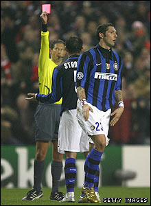 Marco Materazzi is sent off after picking up his second yellow card