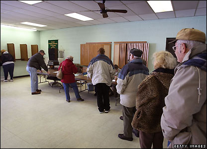 Residents of Cecil, Wisconsin, wait to cast their votes