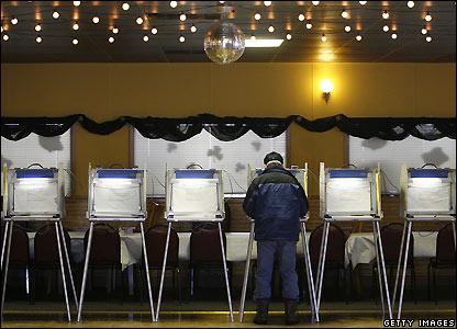 A voter casts his ballot in Cedarburg, Wisconsin