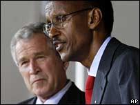 President Bush with Rwandan President Paul Kagame on Tuesday