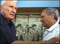 Former Cuban Vice-President Jose Ramon Fernandez meets Alfredo Duran in Havana in 2001