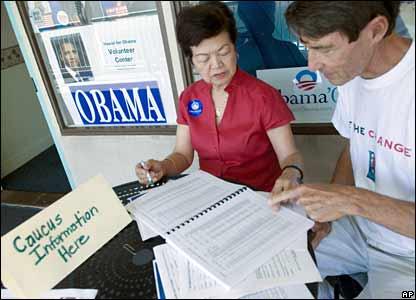 Obama supporters distribute information in Honolulu, Hawaii