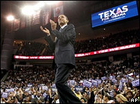 Barack Obama at a rally in Houston, Texas, 19 Feb 2008