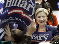 Hillary Clinton at a rally in Youngstown, Ohio, 19 Feb 2008