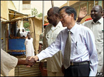 China's Sudan envoy Liu Guijin greets locals in al-Fashir, Sudan (file photo)
