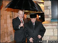 Palestinian leader Abbas and Israeli PM Olmert in Jerusalem 19 February