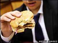 Pupil eating fast food