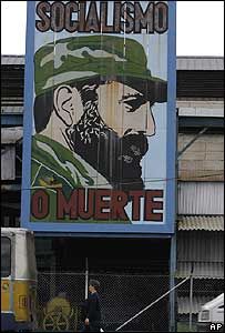 Billboard in Havana with picture of Castro and slogan: Socialism or Death