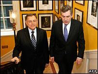 Fouad Siniora visits Downing Street (19 February 2008)