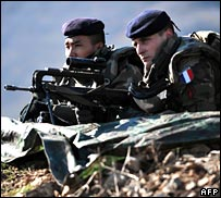 French soldiers near the Jarinje border crossing in Kosovo
