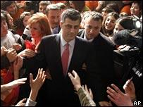 Kosovo Prime Minister Hashim Thaci at a school in Pristina