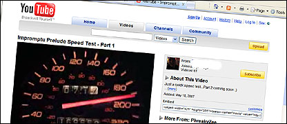 A video showing speedometer