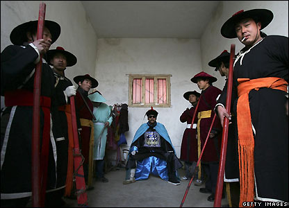 Actors in imperial-era costumes in Xian, Shaanxi province, China