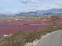 Red collecting ponds from the Russian-owned Kap aluminium plant near Podgorica