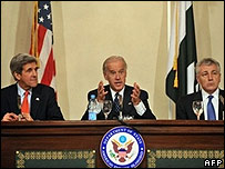 US senator Joseph Biden (centre), John Kerry (left) and Chuck Hagel