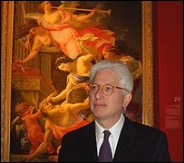 Museum director James Snyder in front Time Conquered by Cupid, Venus and Hope, by Simon Vouet
