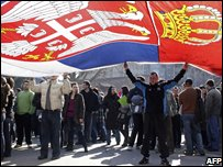 Demonstration in Nis, southern Serbia