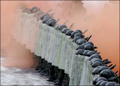 Russian riot police training in Moscow