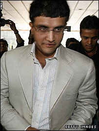 India cricketer Sourav Ganguly arrives at the IPL auction in Mumbai