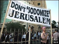 Ultra-Orthodox Jews protest in Jerusalem against a Gay Pride parade in 2007