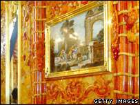 A painting in the recreated Amber Room