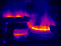 Thermal image of a gas hob