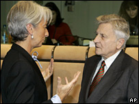 French Finance Minister Christine Lagarde talks to ECB head Jean-Claude Trichet