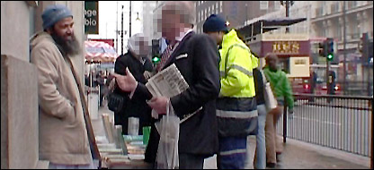 Mohammed Hamid's outreach stall in central London, filmed by the BBC