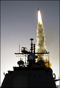 SM-3 missile being fired at satellite