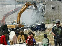 Israeli army demolishing an illegal Palestinian home in Anata