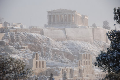 Acropolis in snow