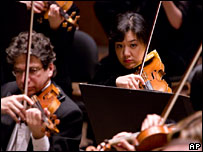 Violinists with the New York Philharmonic