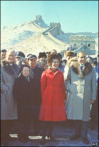 Nixon in front of the Great Wall of China