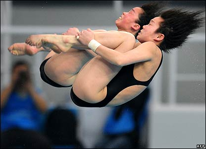 North Korean divers compete at a test event in Beijing