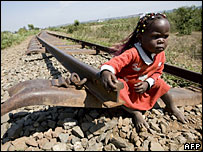 A child on broken railway in Uganda