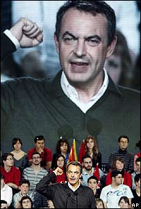 Spanish Prime Minister Zapatero at a party meeting on 16 February