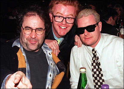 Paul Gascoigne (right) with Danny Baker and Chris Evans