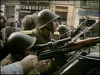 Soldiers aiming at snipers in Bucharest, Dec 1989