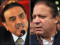 Asif Ali Zardari (left) and Nawaz Sharif