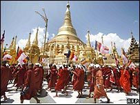Monks protesting at Shwedagon Pagoda in Rangoon