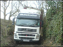 Lorry stuck in lane near Halton, in Wrexham county
